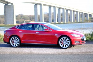 Tesla Model S P85+ in front of Orwell Bridge in Ipswich