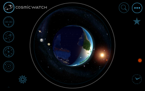 A screenshot The Cosmic Watch of one of the many different modes available.