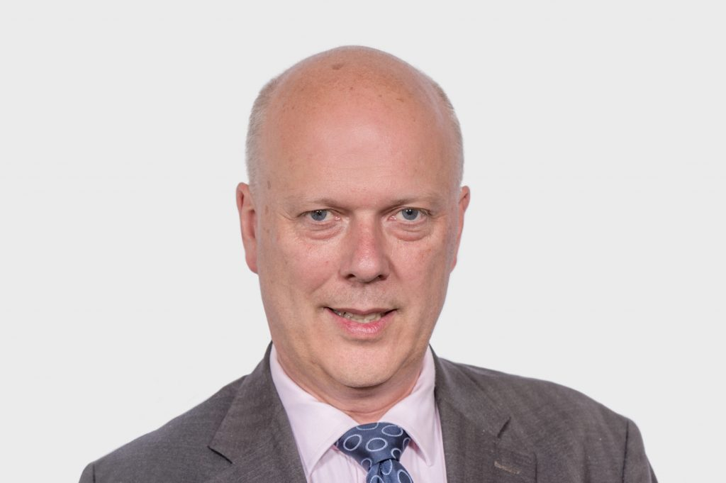 Rt Hon Chris Grayling MP as Secretary of State for Transport