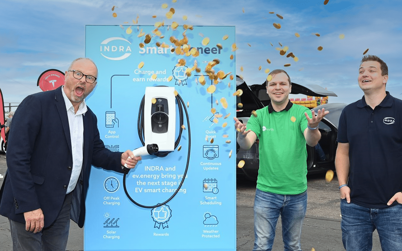 INDRA Founder and CTO Mike Schooling, ev energy and Robert Llewellyn with the INDRA Smart Pioneer